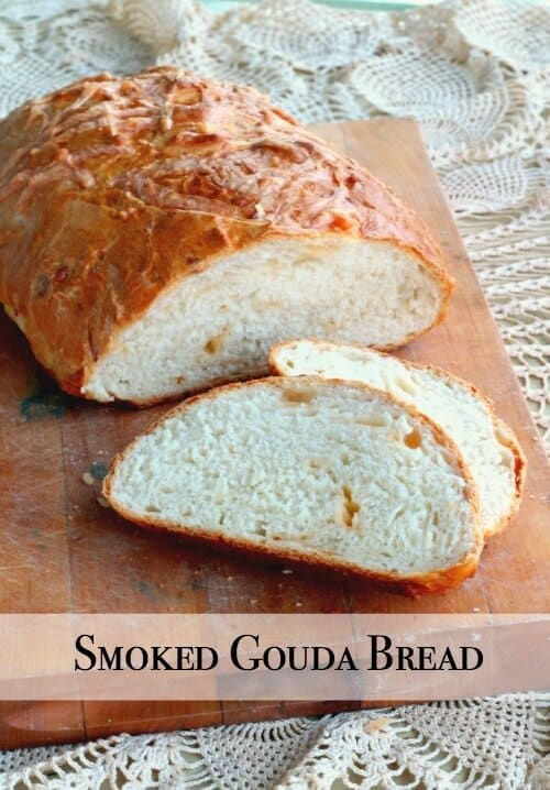 Smoked Gouda cheese bread is chewy and smoky with a crispy crust. Grilled cheese sandwiches anyone? From Restlesschipotle.com
