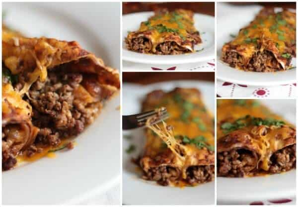 OMG so good! Easy beef enchiladas with homemade sauce. From restlesschipotle.com