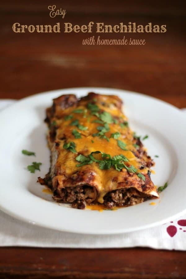 These super easy ground beef enchiladas with homemade sauce are our favorite! <3 From Restlesschipotle.com