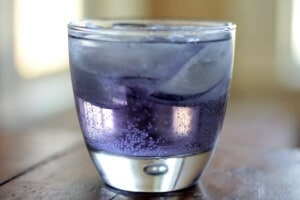 a cocktail made with creme de violette, this violet crumble drink is all kinds of pretty! SO yummy, too! From RestlessChipotle.com