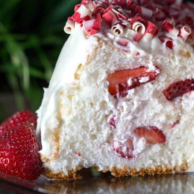 This easy strawberry angel food cake is perfect for summer parties! So easy!