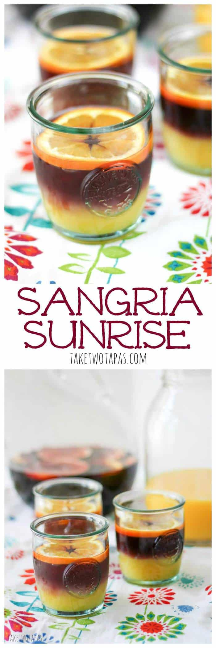 Fruity sangria meets orange juice in this twist on the Tequila Sunrise. Sangria Sunrise Recipe | Take Two Tapas