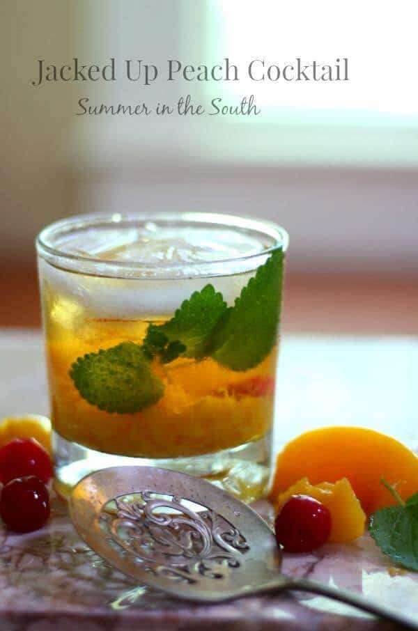 This peach cocktail has sweet, ripe peaches and Jack Daniels - perfect for summer! From RestlessChipotle.com