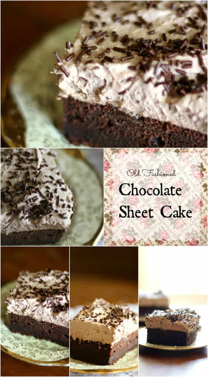 This old fashioned chocolate sheet cake is deep, dark chocolate with a silky, creamy frosting. So good! From RestlessChipotle.com