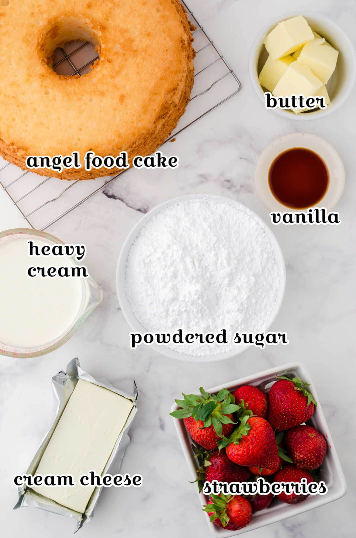 Labeled ingredients for the strawberry angel food cake.