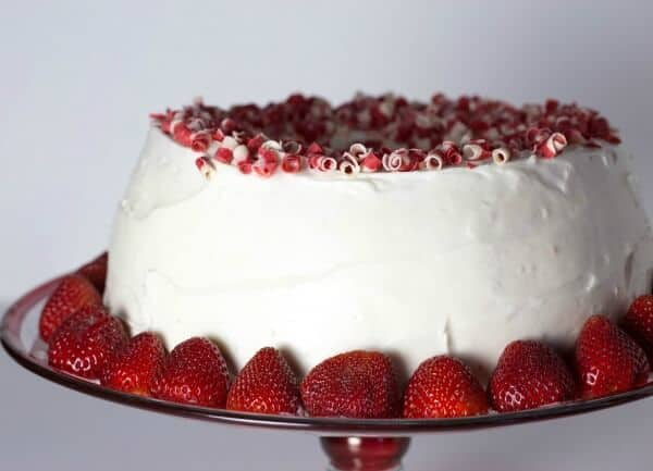 Beautiful strawberry filled angel cake is easy to make -perfect recipe for Mother's Day!