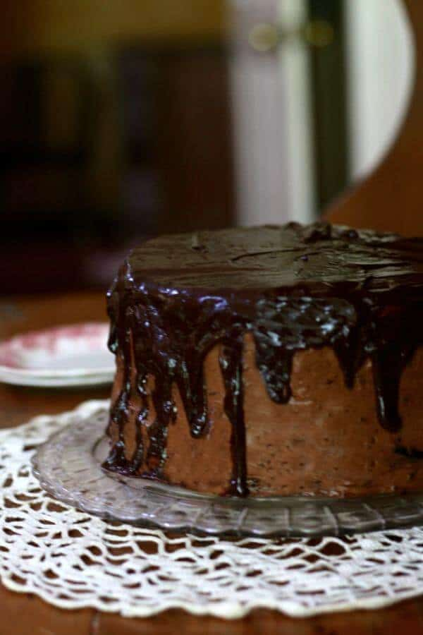 The shadow on this old fashioned chocolate shadow cake is created with ganache. From RestlessChipotle.com