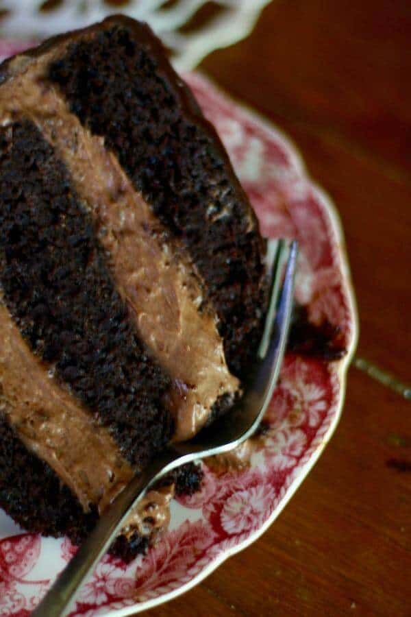 The creamy filling in this chocolate shadow cake has a pop of chile heat. From RestlessChipotle.com