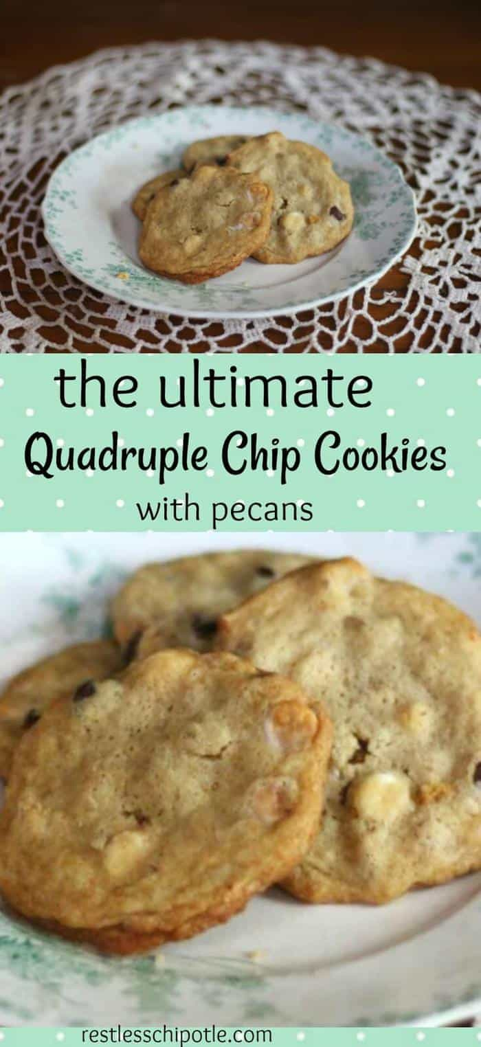 Are you ready for the ultimate quadruple chip cookies? Crispy edges and chewy middles, these cookies have chocolate, butterscotch, white chocolate and bittersweet chocolate chips plus toasted pecans in every luscious bite. from RestlessChipotle.com #chocolatechipcookies #bestchocolatechipcookies