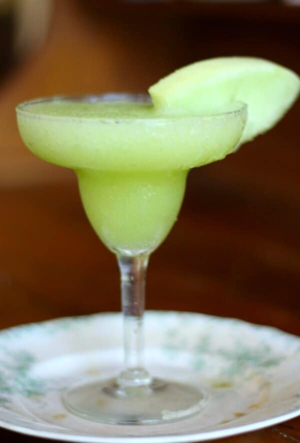 This frozen honeydew margaritas are easy to make and perfect for relaxing by the pool. From RestlessChipotle.com