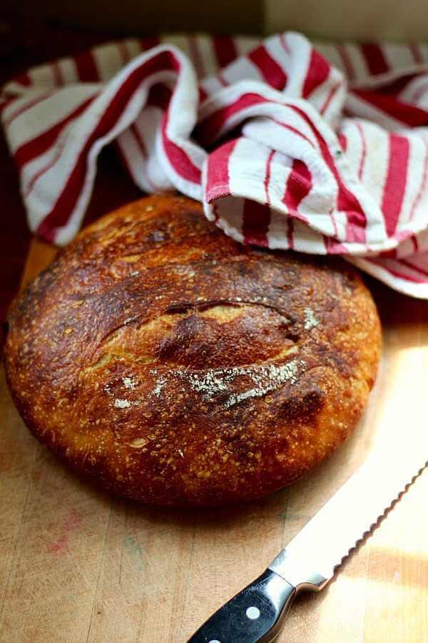 No knead sourdough bread has a thin crispy crust. SO good. From RestlessChipotle.com