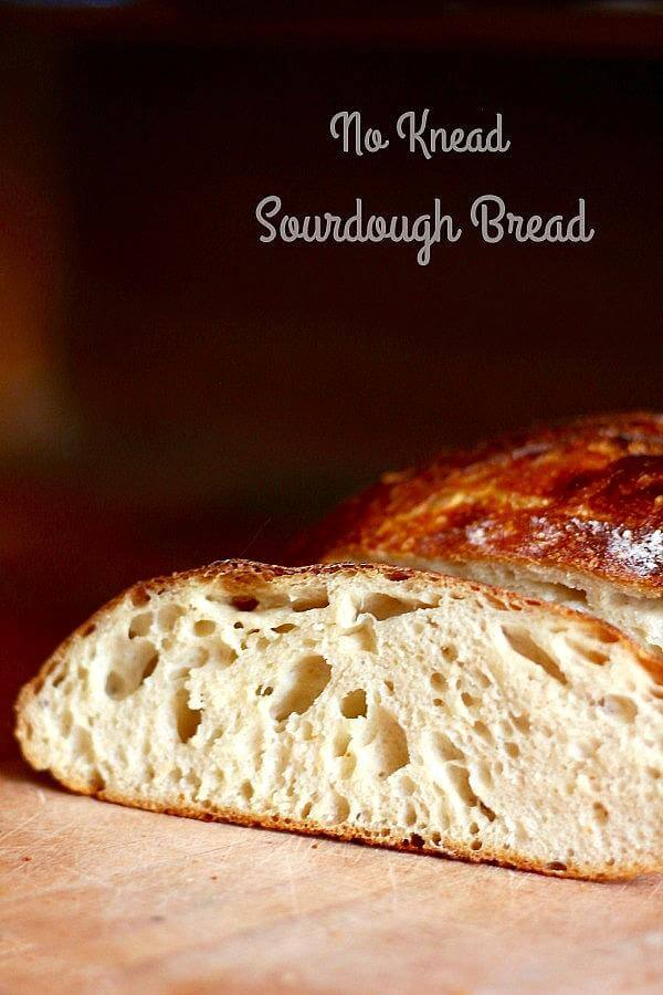 No knead sourdough bread is made with just 4 ingredients! From RestlessChipotle.com