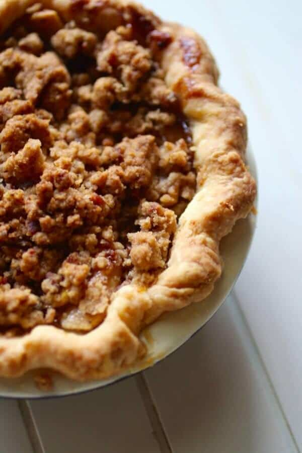 Bourbon apple tarts with bacon streusel is so perfect for fall! From RestlessChipotle.com