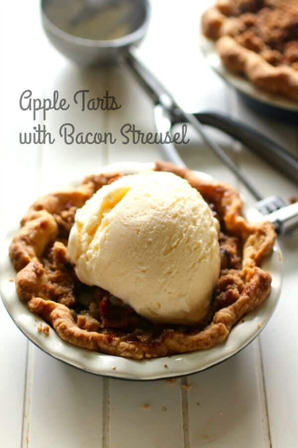 Sweet, salty, and so yummy! These bourbon apple tarts have a crispy bacon streusel topping. From RestlessChipotle.com