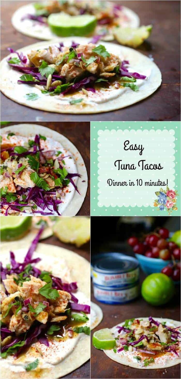 These easy tuna tacos are full of Southwestern flavor! Family friendly and they can be on the table in less than 10 minutes! From RestlessChipotle.com