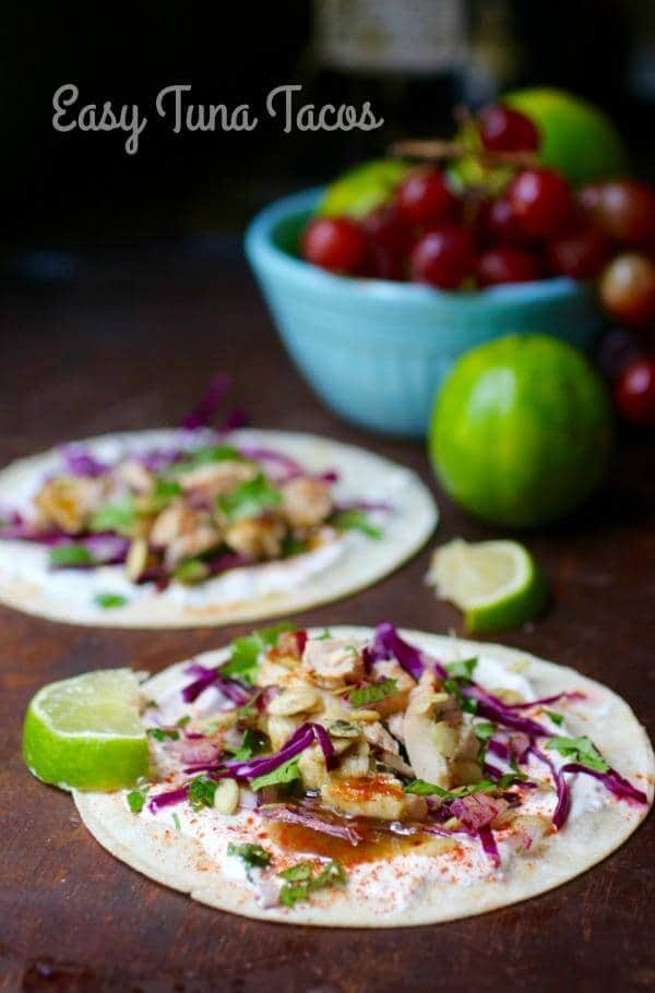These easy tuna tacos make dinner go together fast! From RestlessChipotle.com