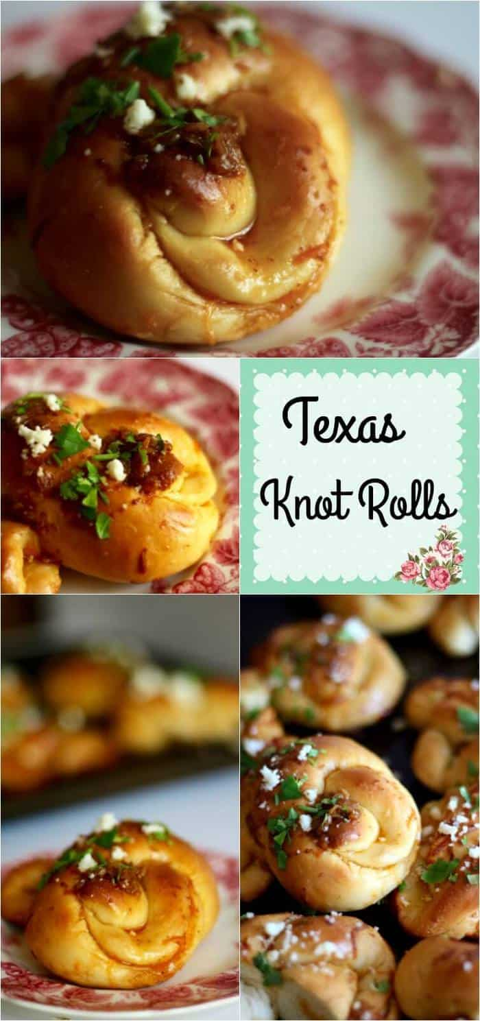 These yummy Texas Knot Rolls are dipped in melted butter seasoned with Tex-Mex seasonings for a unique twist on garlic knots! Buttery Tex-Mex flavor! From RestlessChipotle.com