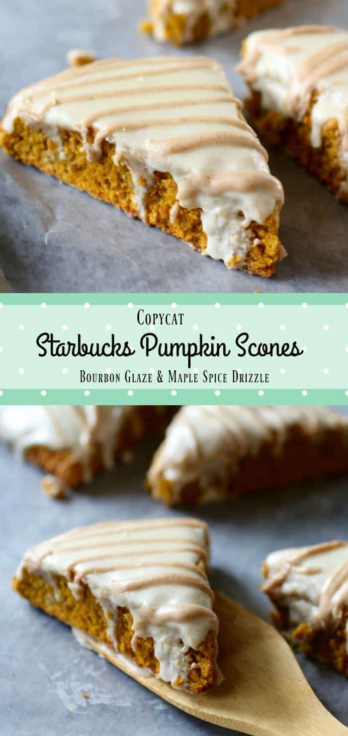 Copycat Starbucks Pumpkin Scones recipe has a bourbon glaze and a maple spice drizzle. Beautiful and delicious! From RestlessChipotle.com