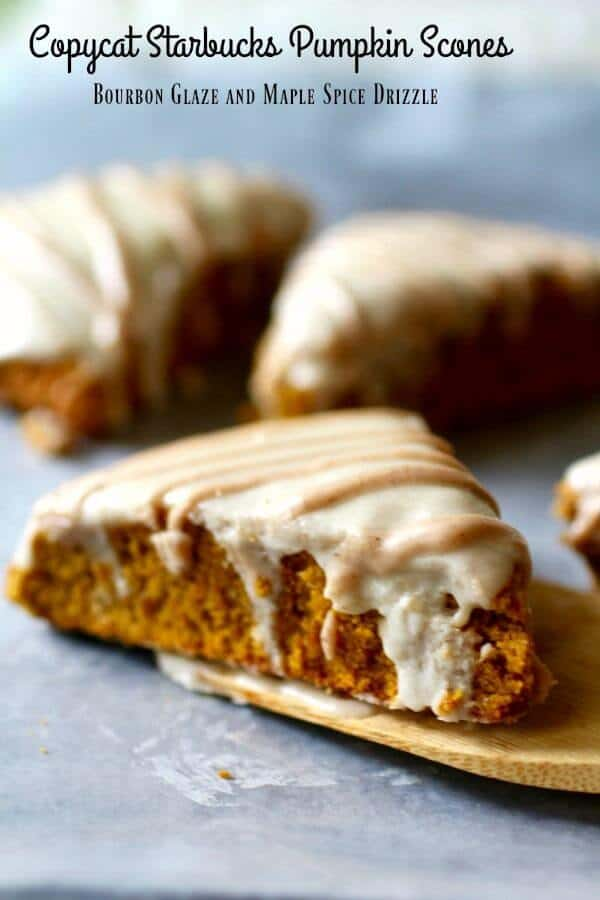 Pumpkin Scones on a table with a wooden spatula