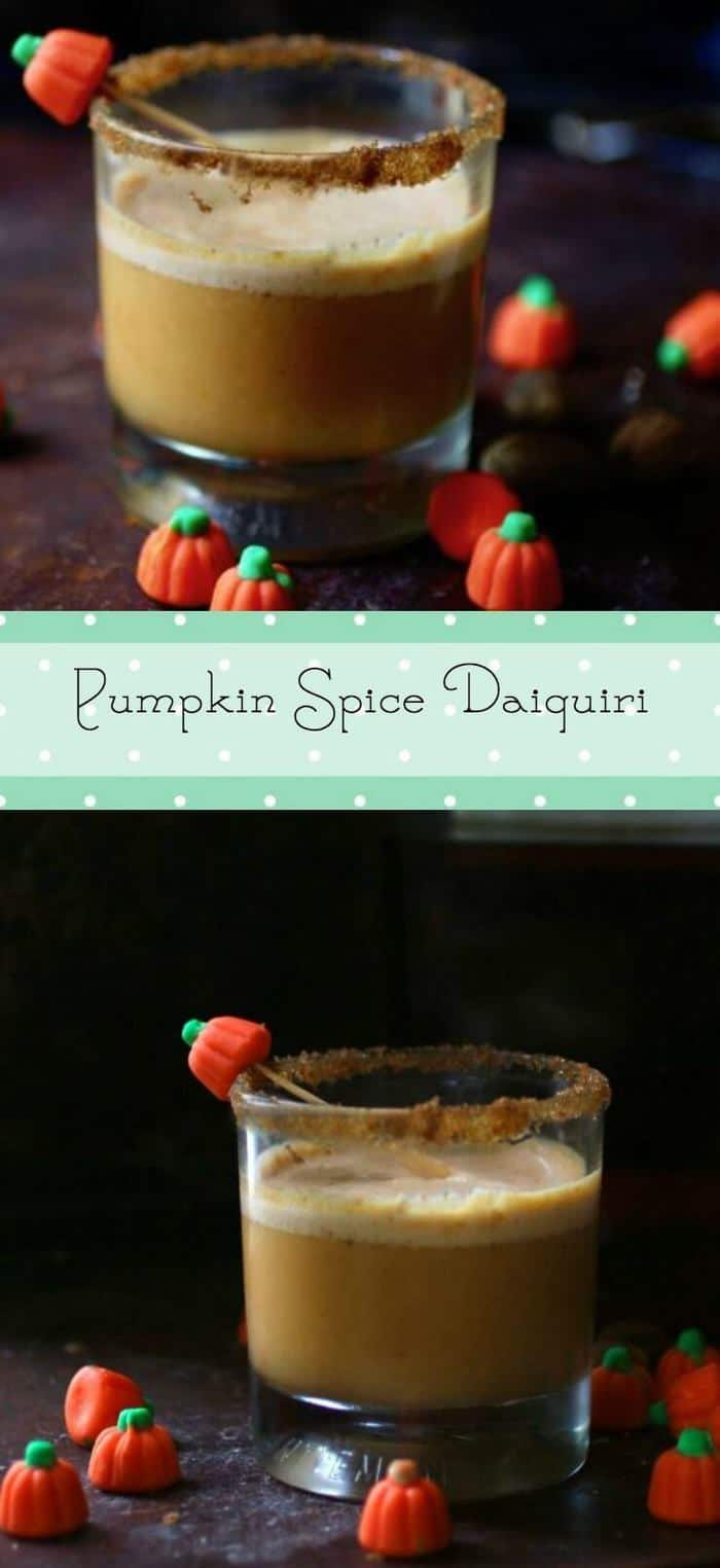 You\'ll love this pumpkin spice daiquiri cocktail! Made with spiced rum, pumpkin, spices, and salted caramel. From RestlessChipotle.com