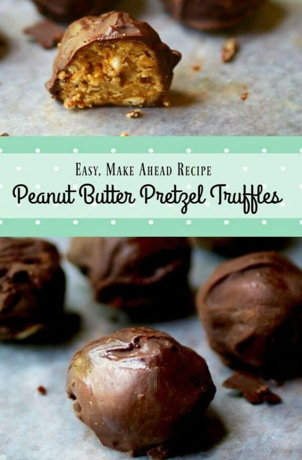 Easy peanut butter pretzel truffles are salty and sweet #truffles #chocolate #recipes #salty #pretzels #homemade #candy