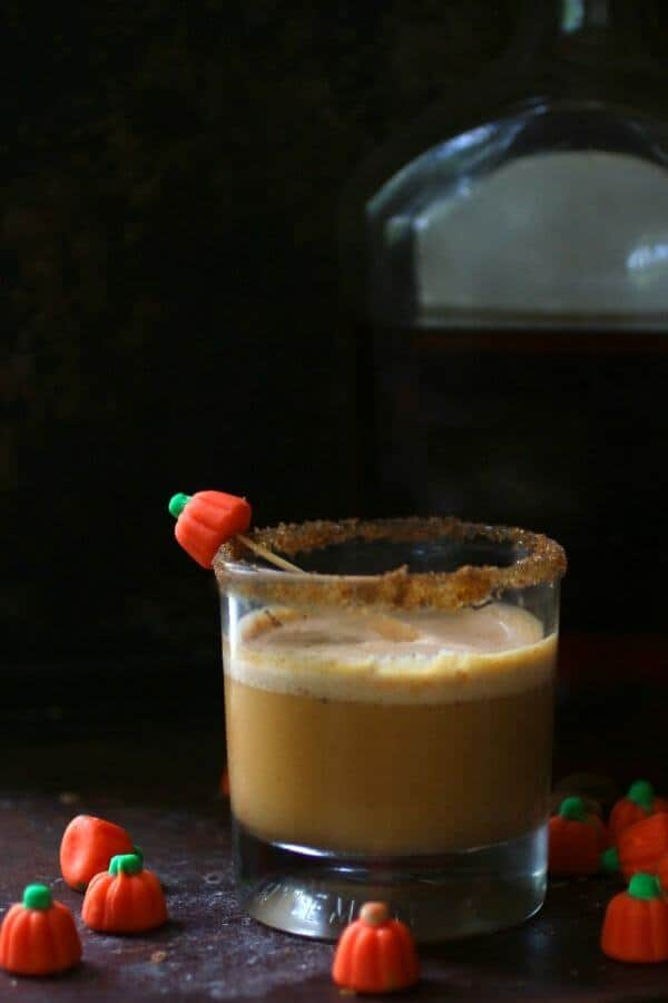 Delicious pumpkin spice daiquiri is made with spiced rum. From RestlessChipotle.com