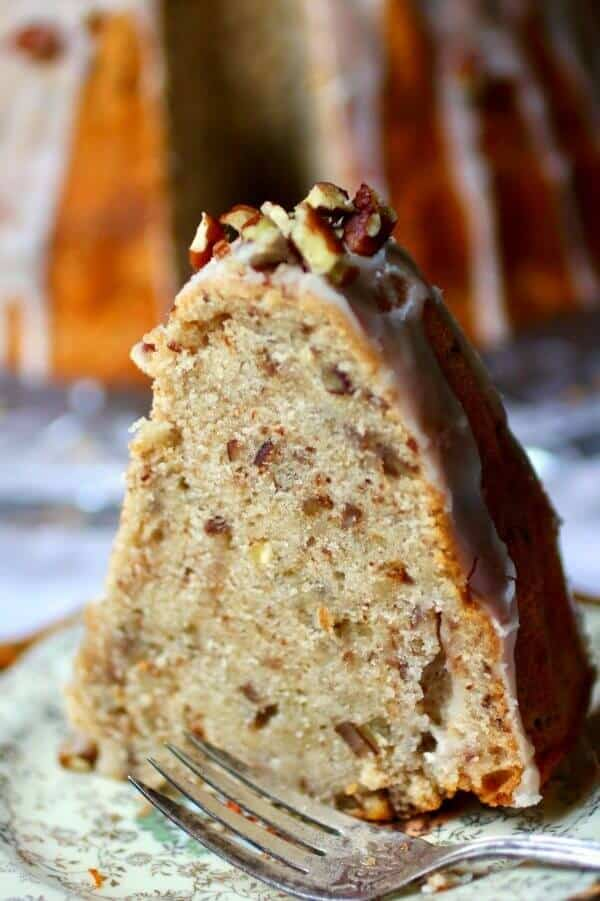 Vintage bourbon cake recipe has tons of pecans plus a sweet bourbon glaze..It's so yummy! From RestlessChipotle.com