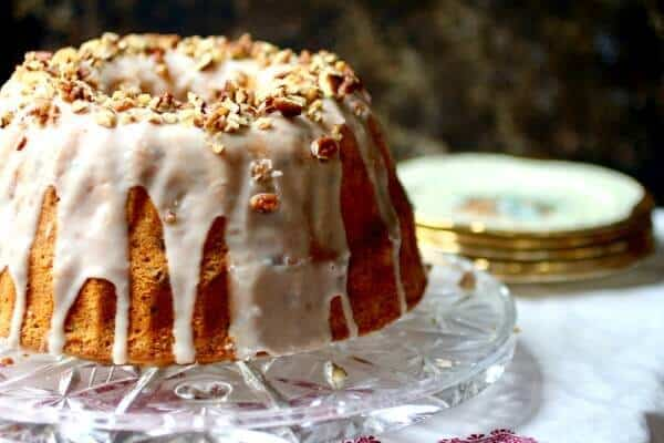 Vintage Southern Bourbon Cake Recipe- loaded with bourbon and pecans! It's an easy bundt cake that's perfect for any special occasion. From restlesschipotle.com