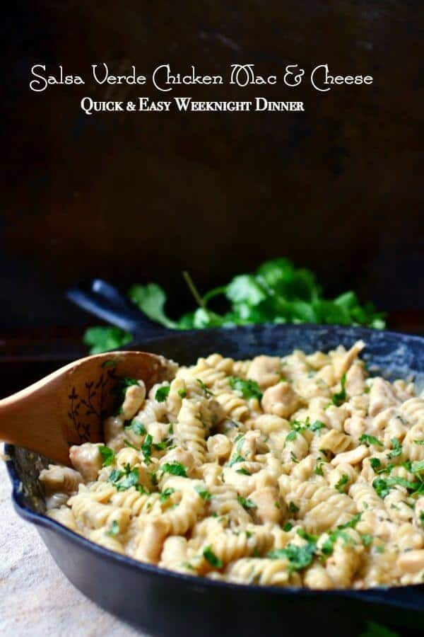 Easy weeknight mac and cheese recipe! This salsa verde mac and cheese is a Tex-Mex twist on the classic. From RestlessChipotle.com