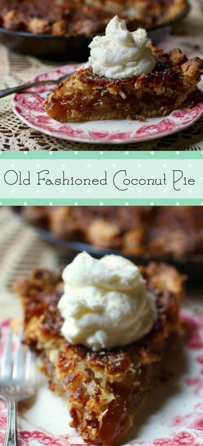 Old  Southern coconut pie recipe is sweet and gooey. Very similar to pecan pie but with coconut! From RestlessChipotle.com