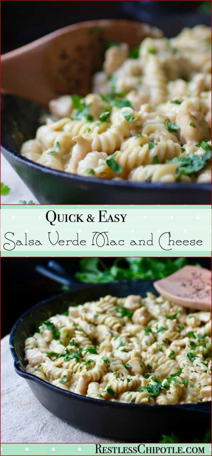 Your family will love this quick and easy mac and cheese recipe. A Tex-Mex skillet dinner, Salsa Verde Chicken Mac and Cheese recipe is ready in minutes.