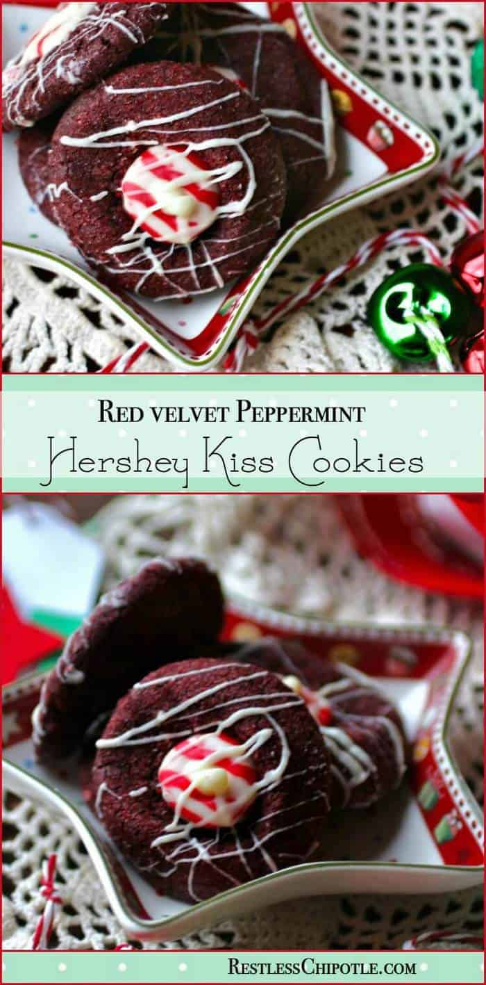 It's a holiday tradition! Hershey Kiss cookie recipe made with red velvet cookies and peppermint Hershey Kisses! One of my favorite Christmas treats! From RestlessChipotle.com