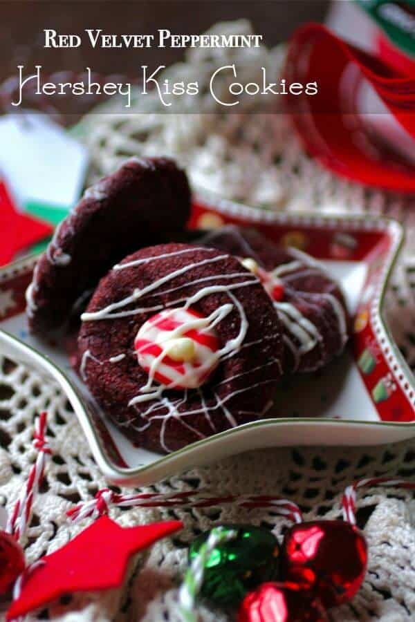 Hershey Kiss cookie recipe made with red velvet cookies and peppermint Hershey Kisses! One of my favorite Christmas treats! From RestlessChipotle.com