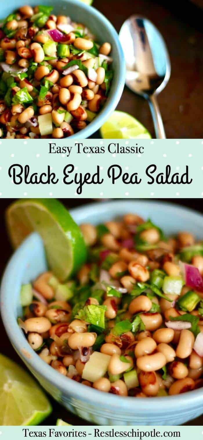 Quick and easy! Texas black eyed pea salad recipe is a classic. Fresh flavor with lime and cilantro. Also called Cowboy Caviar or Texas Caviar.From RestlessChipotle.com