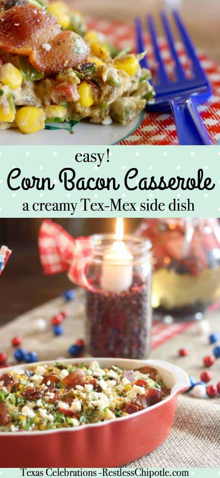This easy corn bacon casserole recipe comes together fast and can be made ahead. Cream cheese and smoky bacon are the secret to this yummy Tex-Mex side dish. From RestlessChipotle.com