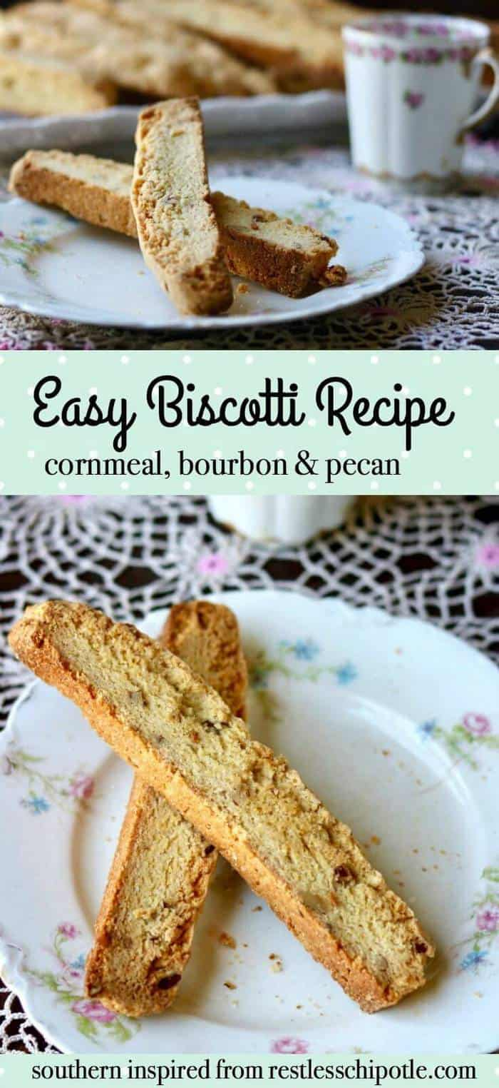 Unique easy biscotti recipe that never fails. SO good with nutty, sweet, buttery flavor. The cornmeal gives these cookies their delicious texture and flavor. From RestlessChipotle.com