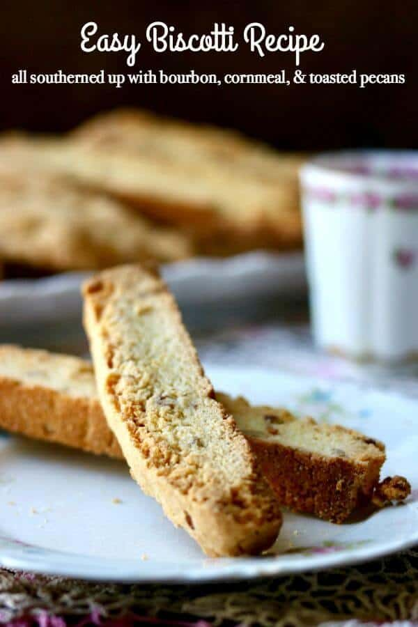 Easy biscotti recipe makes the best homemade biscotti southern style! Cornmeal, bourbon, and pecans give it a unique, sweet and nutty flavor. Ships well so great for overseas loved ones! From RestlessChipotle.com