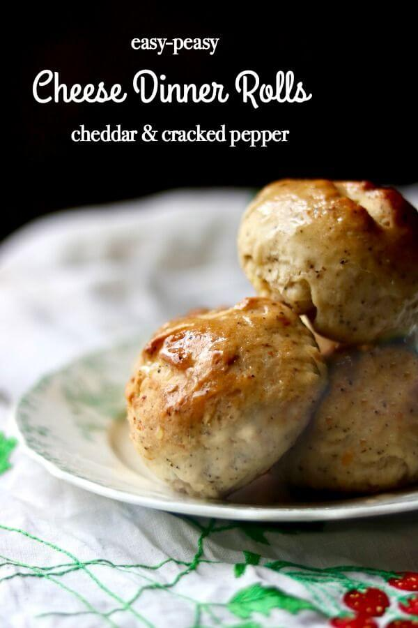 These easy cheese dinner rolls have big Cheddar and cracked pepper flavor. Perfect for serving with stews and hearty soups! From RestlessChipotle.com