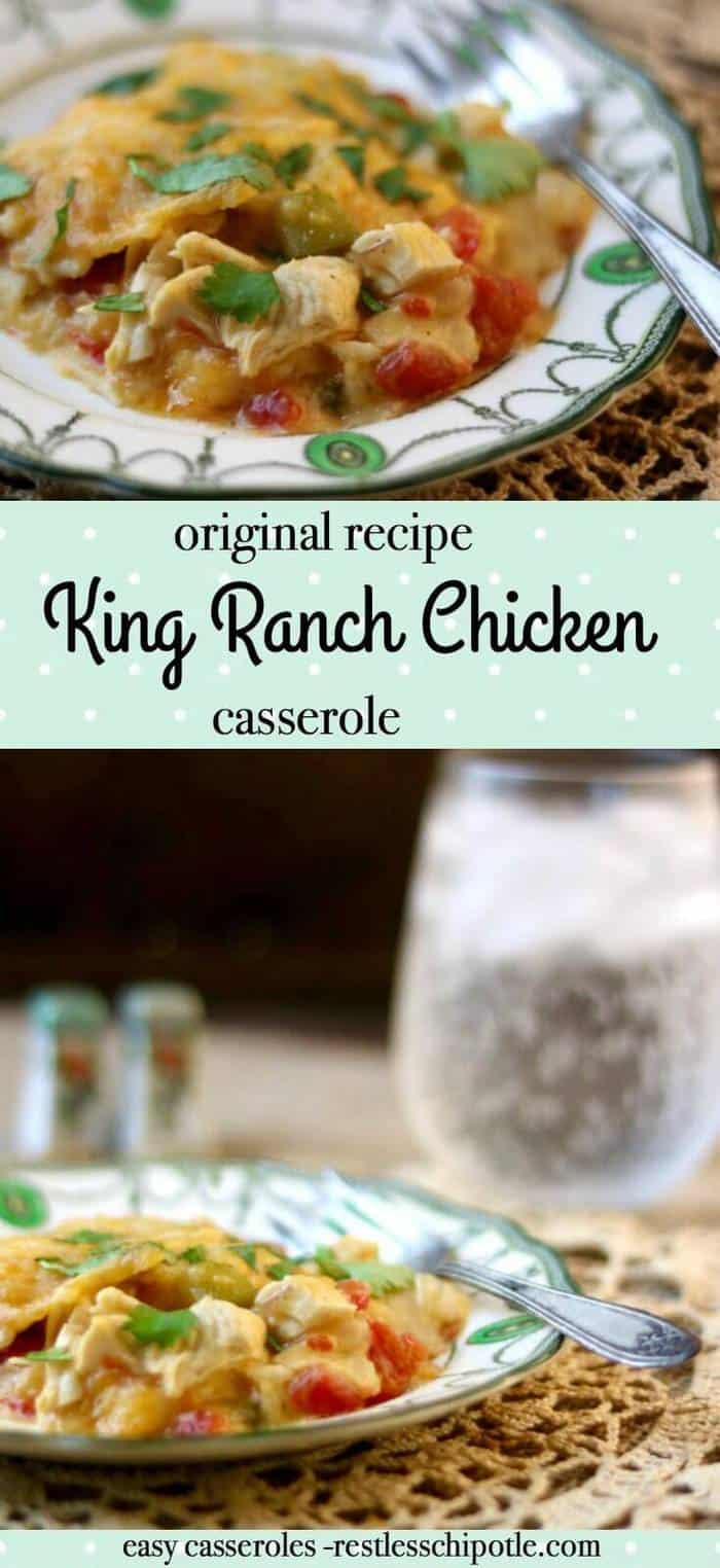 Original King Ranch Chicken casserole is quick, easy, and family friendly! It's perfect for busy weeknights - freezes well, too! From RestlessChipotle.com