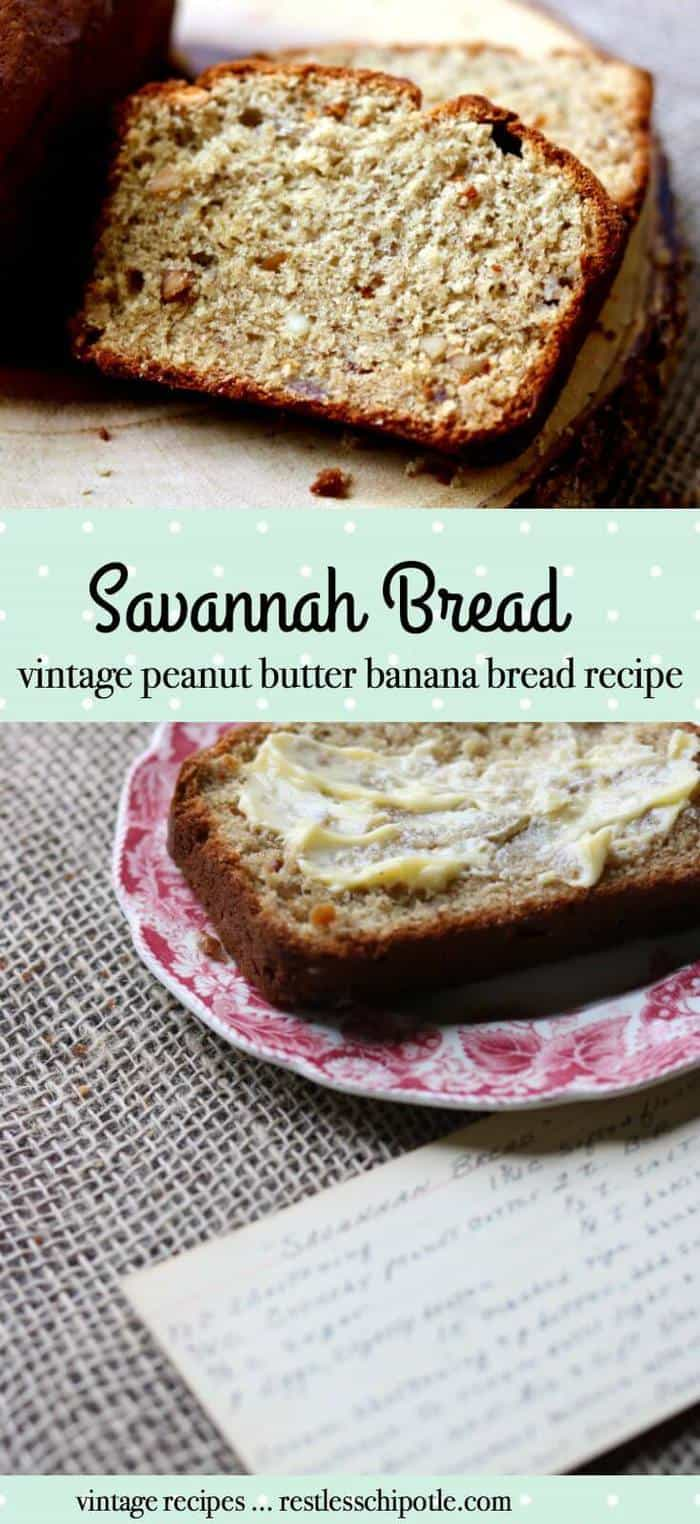 Vintage recipe for peanut butter banana bread is so good. It was called Savannah Bread at my house and this recipe is from the 1940s. RestlessChipotle.com
