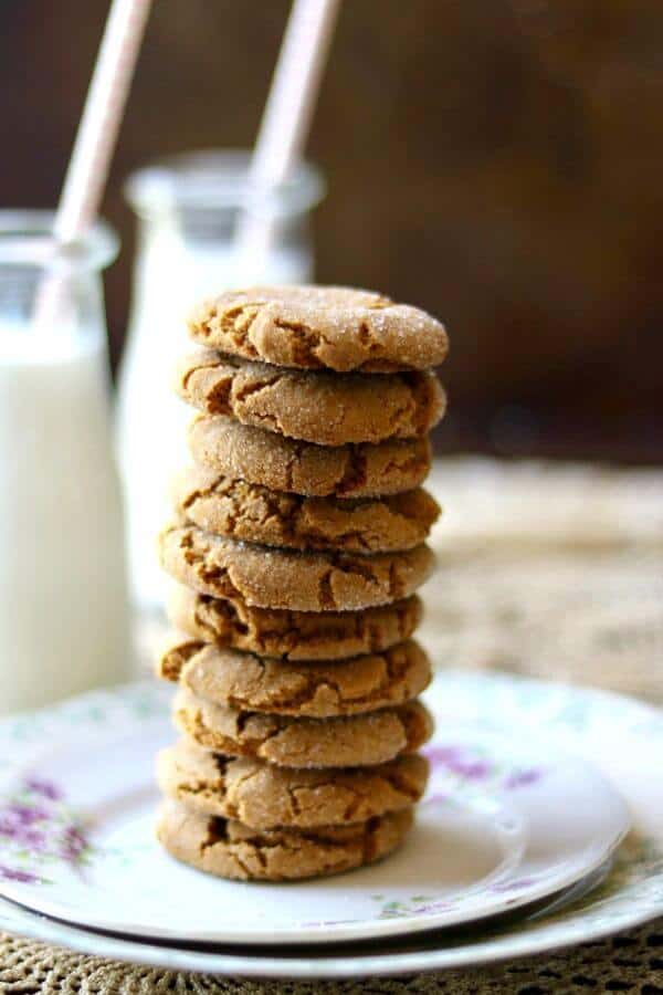 Quick and easy peanut butter molasses cookies have crinkle tops and don't need to chill. From RestlessChipotle.com