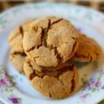 Easy peanut butter molasses cookies are crispy chewy with crinkle tops. From RestlessChipotle.com