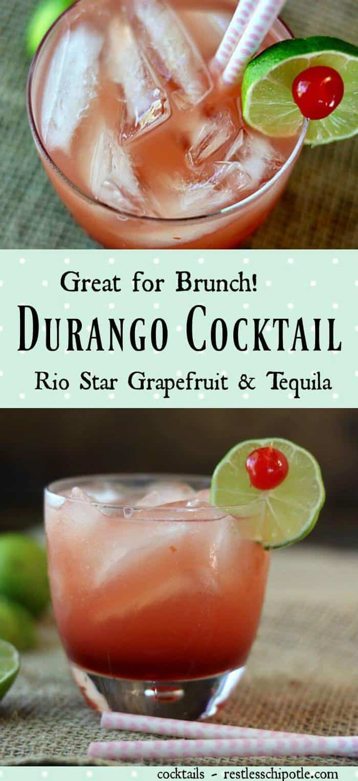 The Durango cocktail recipe is similar to a Paloma but with the addition of amaretto to smooth out the flavor. Reposado tequila and grapefruit cocktail that's unusual and delicious! Perfect brunch beverage! From RestlessChipotle.com