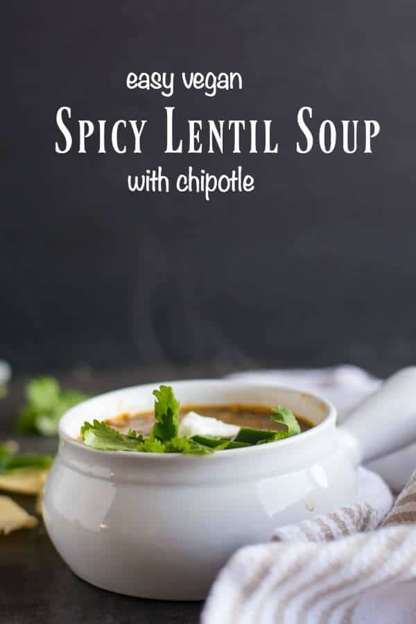 Easy, spicy lentil soup is a budget friendly bowl of comfort food! From RestlessChipotle.com