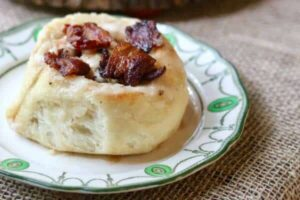 These bacon cinnamon rolls are deliciously different! From RestlessChipotle.com
