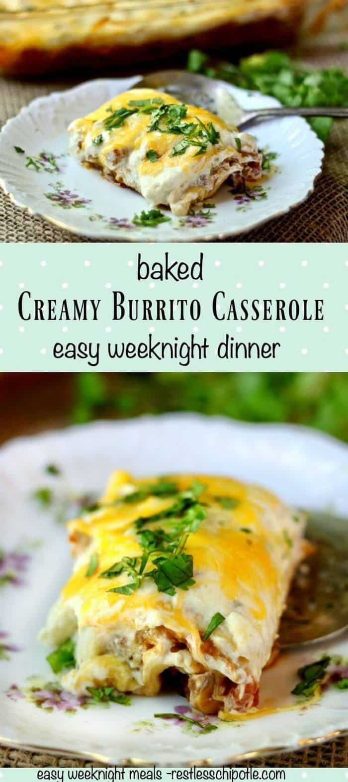 Creamy burrito casserole recipe is so good! Perfect when you want Tex-Mex! You can even assemble it up to two days ahead and bake when needed! From RestlessChipotle.com