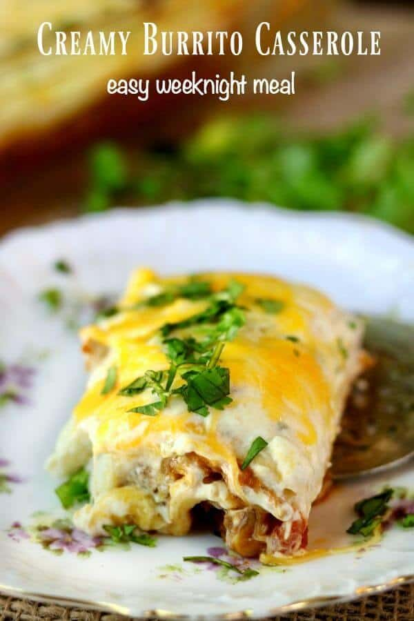 Easy, creamy burrito casserole recipe can be assembled ahead to save time! Family favorite with Tex-Mex flavor and gooey cheese. From RestlessChipotle.com