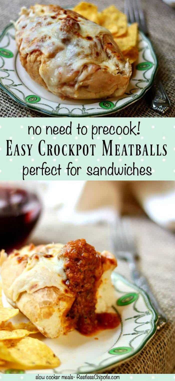 A quick and easy crockpot meatballs recipe that's perfect for slow cooker meatball sandwiches, spaghetti and meatballs, or whatever you like! No need to precook the meatballs! From RestlessChipotle.com