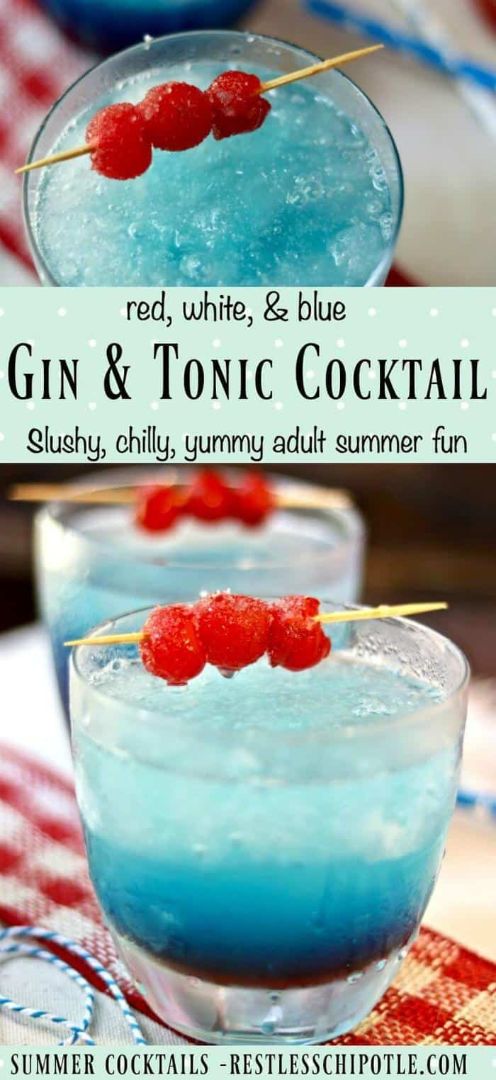 Classic gin and tonic cocktail is updated with slushy red, white, and blue stripes for summer! From RestlessChipotle.com