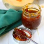 Cantaloupe jelly recipe without pectin is easy to make in the slow cooker in just 2 hours! Delicious freezer jam! From RestlessChipotle.com